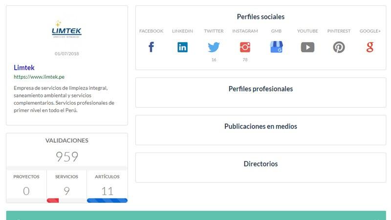 Panneau de configuration du site Web et des profils sociaux